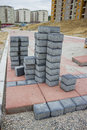 Blocks for pavement concrete at construction site Stock Photos