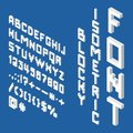Blocky isometric white font Royalty Free Stock Photo