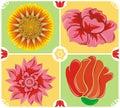 Bloemen achtergrond, pictogramreeks, vector Royalty-vrije Stock Fotografie