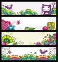 Bloemen banners (bloemenreeks) Stock Afbeeldingen