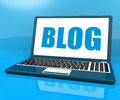 Blog On Laptop Shows Blogging Or Weblog Website Royalty Free Stock Photography