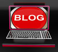 Blog on laptop shows internet blogging showing or weblog website Royalty Free Stock Image