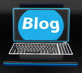 Blog on laptop shows web blogging or weblog website showing Stock Photo