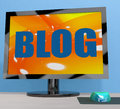 Blog on monitor shows blogging or weblog online showing Stock Images