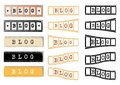 Blog the word us on filmstrip of different shapes and colours Stock Photos