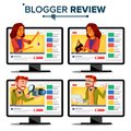 Blogger Review Concept Vector. Video Blog Channel. Man, Woman Popular Video Streamer Blogger. Recording. Online Live