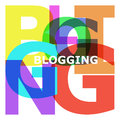 Blogging abstract color letters text on white background Royalty Free Stock Photos