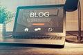 Blogging blog word coder coding using laptop Royalty Free Stock Photo