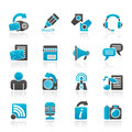 Blogging communication and social network icons vector icon set Stock Photo