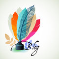 Blogging concept feathers bloggers old fashioned feather pen with ink bottle colors Stock Photo