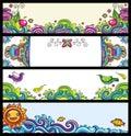 blom- serie för baner Royaltyfri Bild