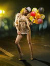Blond alluring woman with balloons lady Royalty Free Stock Photo