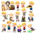 Blond boy doing different activities Royalty Free Stock Photo
