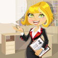 Blond business woman in office with speech bubble Stock Photo