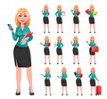 Young successful business woman, set of thirteen poses. Royalty Free Stock Photo