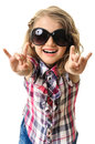 Blond child girl dancing isolated happy fingers sign both hands sunglasses casual clothes on white background Stock Photography