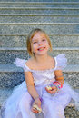 Blond children princess girl Royalty Free Stock Image