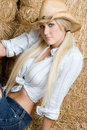 Blond Cowgirl Stock Image