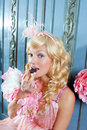 Blond fashion princess woman eating chocolate Royalty Free Stock Photos