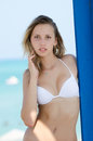 Blond female model with slim and attractive body in bikini Royalty Free Stock Photo