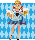 Blond girl with beer in short skirt Stock Images