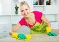 Blond girl cleaning surfaces at home
