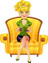 Blond girl with coffee sit in yellow armchair Stock Photo