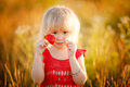 Blond girl with flowers little poppy and camomile ih the field Royalty Free Stock Images