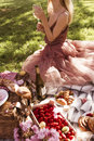 Blond girl having a picnic Royalty Free Stock Photo
