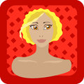 Blond girl on red background Royalty Free Stock Photos