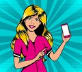 Blond girl with smart phone in pop art retro comic book style