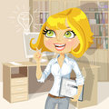Blond girl with tablet inspiration idea in office electronic Royalty Free Stock Photo