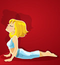 Blond girl in yoga pose Bhudzhangasana on red Stock Photography
