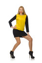 Blond hair girl in yellow and black clothing the isolated on white Royalty Free Stock Photos