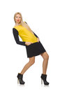 Blond hair girl in yellow and black clothing the isolated on white Royalty Free Stock Image