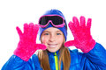 Blond kid gir winter snow portrait with open hands Stock Image