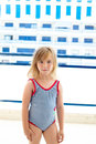 Blond kid girl with summer swimsuit Stock Photography