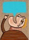 Blond man speaks a globe of text