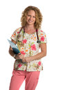 Blond Nurse on Isolated White Background Royalty Free Stock Photography