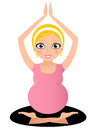 Blond pregnant yoga woman in lotus pose vector illustration Royalty Free Stock Photography