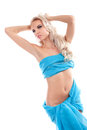 Blond sexy woman with blue fabric on a white Stock Photos