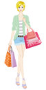 Blond shopper vector illustration of Royalty Free Stock Image