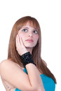 Blond teen with big black pearl necklace Royalty Free Stock Photo