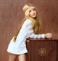 Blond vintage 70s kid girl retro Royalty Free Stock Image