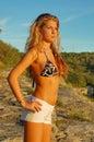 Blond woman in bikini Stock Photo