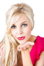 Blond woman blowing kiss portrait of beautiful young white background Stock Photos