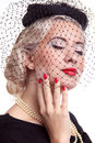 Blond Woman with bright make up and red nails Royalty Free Stock Images