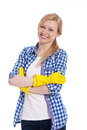 Blond woman with cleaning gloves portrait of smiling beautiful female cleaner Stock Photography