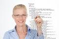 Blond woman correcting a script