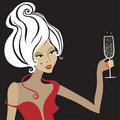 Blond woman with glass of champagne Royalty Free Stock Photo